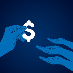 giving dollar or transfer to others hand vector