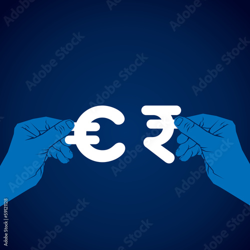 exchange euro and rupee currency vector