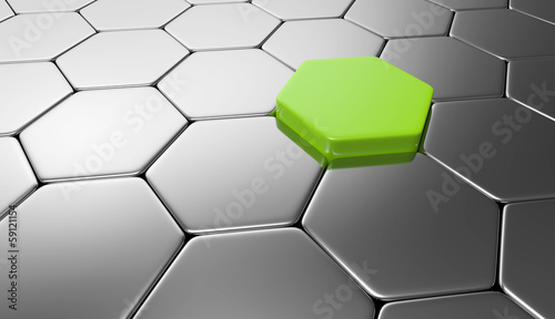 Sechseck Konzept Grün Silber