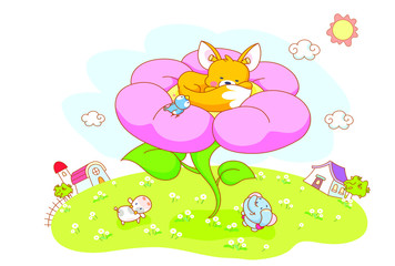 squirrels are sleeping in the flower garden