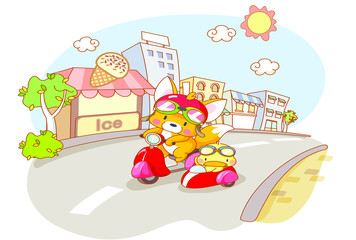 cute animals were riding motorcycles and city background