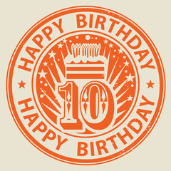 Stamp with candles, cake and the text Happy Birthday, vector