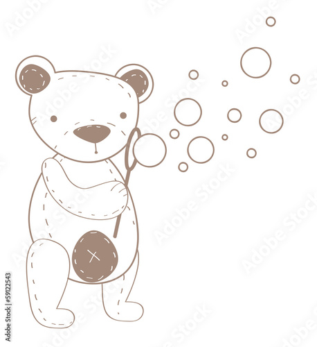 Cute stitched teddy bear with soap bubbles