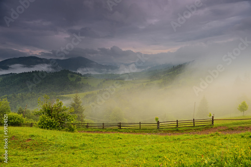 Spring landscape in mountains Carpathians