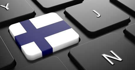 Finland - Flag on Button of Black Keyboard.