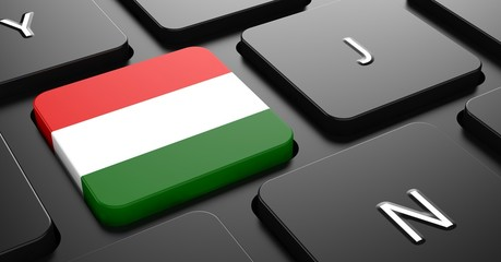 Hungary - Flag on Button of Black Keyboard.