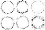 Set of 6 hand-draw raster victory laurel wreaths