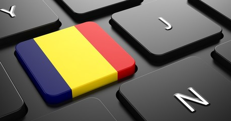 Romania - Flag on Button of Black Keyboard.