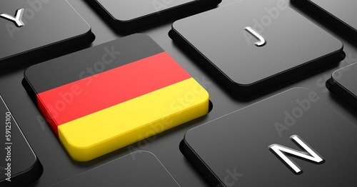 Germany - Flag on Button of Black Keyboard.