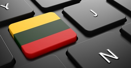 Lithuania - Flag on Button of Black Keyboard.