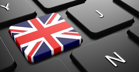 United Kingdom - Flag on Button of Black Keyboard.