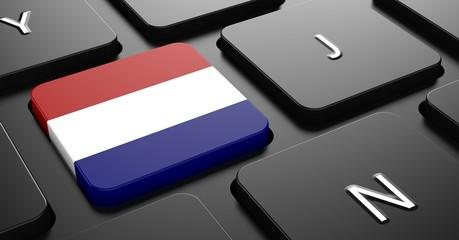 Netherlands - Flag on Button of Black Keyboard.
