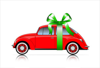compact red car with ribbon