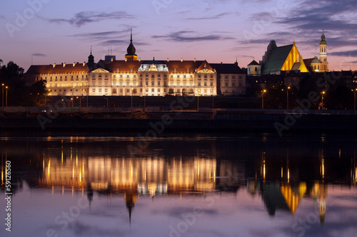 Fototapeta Royal Castle and Vistula River at Twilight in Warsaw