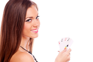 Brunette with poker of aces