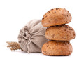 Meal sack, bread rolls and ears bunch still life  cutout