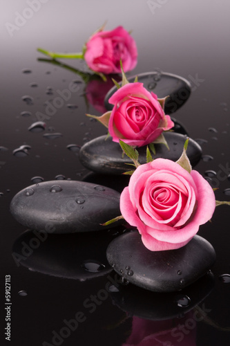 Spa stone and rose flowers still life. Healthcare concept. © Natika