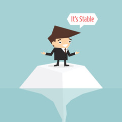 Businessman on risk, vector