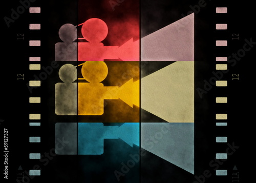 film strip and movie projector background, texture