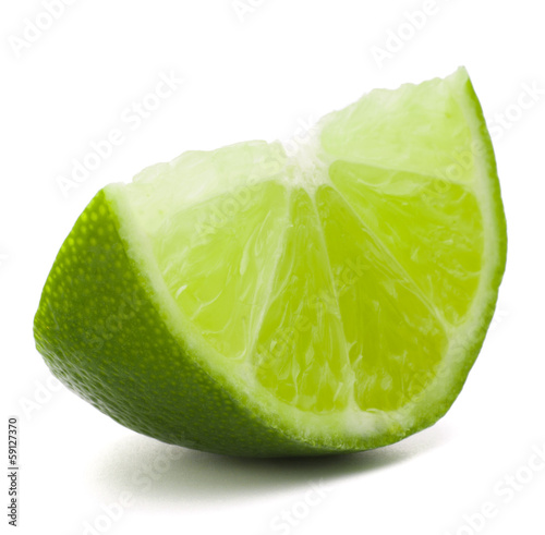 Citrus lime fruit segment isolated on white background cutout © Natika