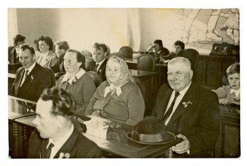 wedding ceremony participants - circa 1955