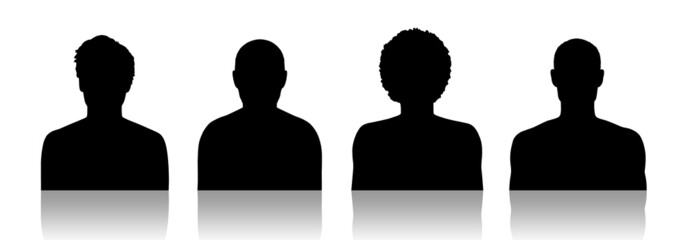 men id silhouette portraits set 2