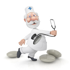 The 3D doctor with a stethoscope.