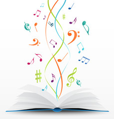 music notes on open book background