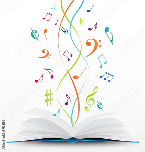 music notes on open book background - 59128130
