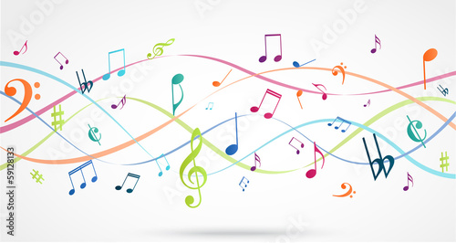 Abstract Background with Colorful Music notes - 59128133