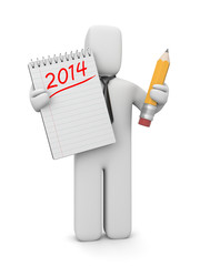 3d human with to-do list for the new year