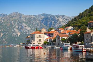 Adriatic sea, Montenegro, Bay of Kotor. Perast town landscape