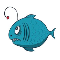 Funny cartoon fish. Vector illustration