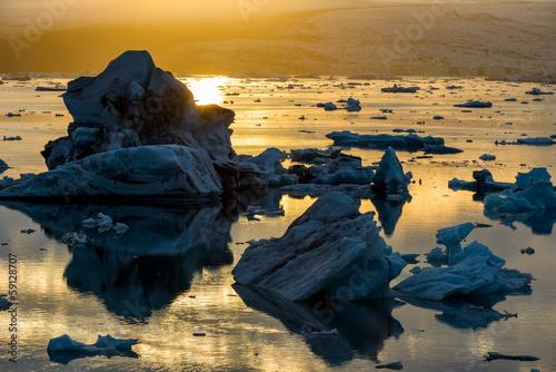 Jokulsarlon Lake & Icebergs during sunset, Iceland