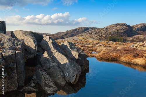 Foto op Canvas Small still lake and stones in Norwegian mountains