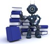Android at with stack of books