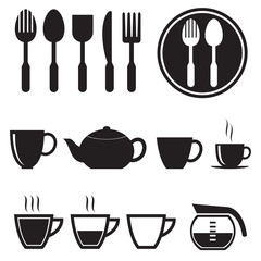 Kitchen icons set, vector format
