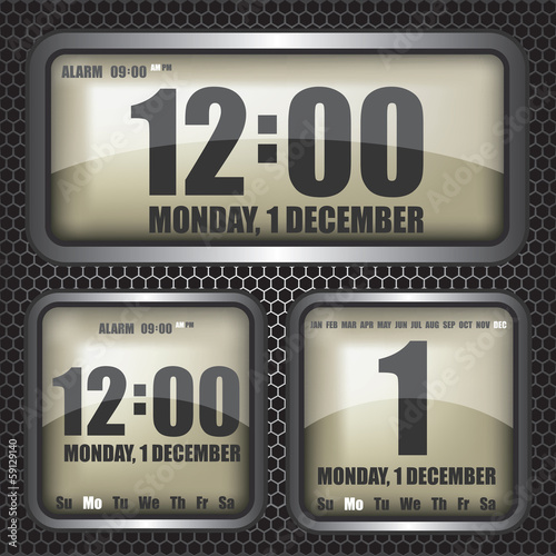 Retro digital clock illustration