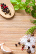 Wooden texture background with cooking ingredients