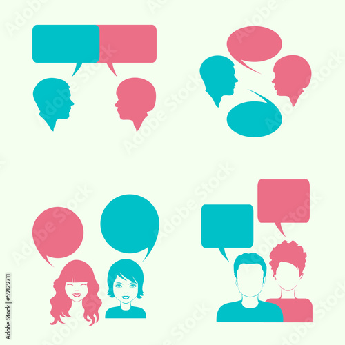 vector dialog bubble, couple head silhouette,