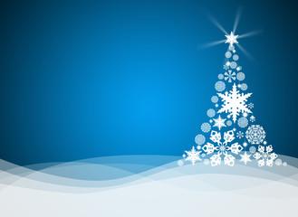Christmas tree from white snowflakes