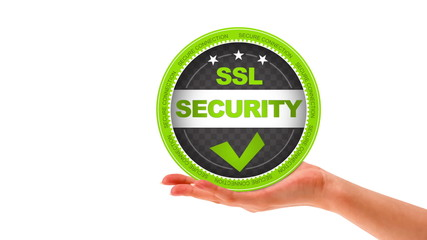 A person holding a SSL security Sign