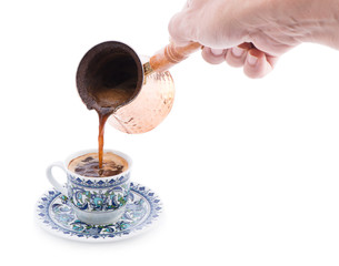 Hand Pouring Turkish Coffee
