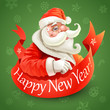 New Year card with Santa Claus on green background