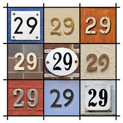 Collage of House Numbers Twenty-nine