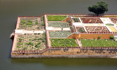 Elevated view of Amber Fort gardens in Jaipur India