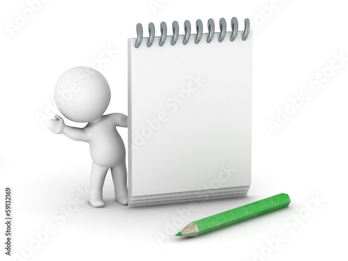 3D guy with notepad and pencil