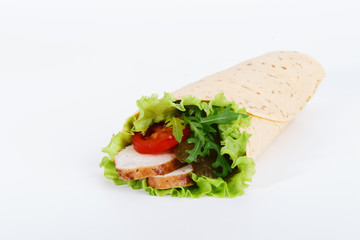 chicken strips wrapped in a tortilla