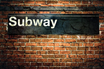 NYC Subway sign with texture