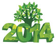 2014 Go Green with Symbols and Tree Vector Illustration